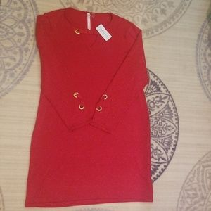 NY Collection petite ruby red dress womans